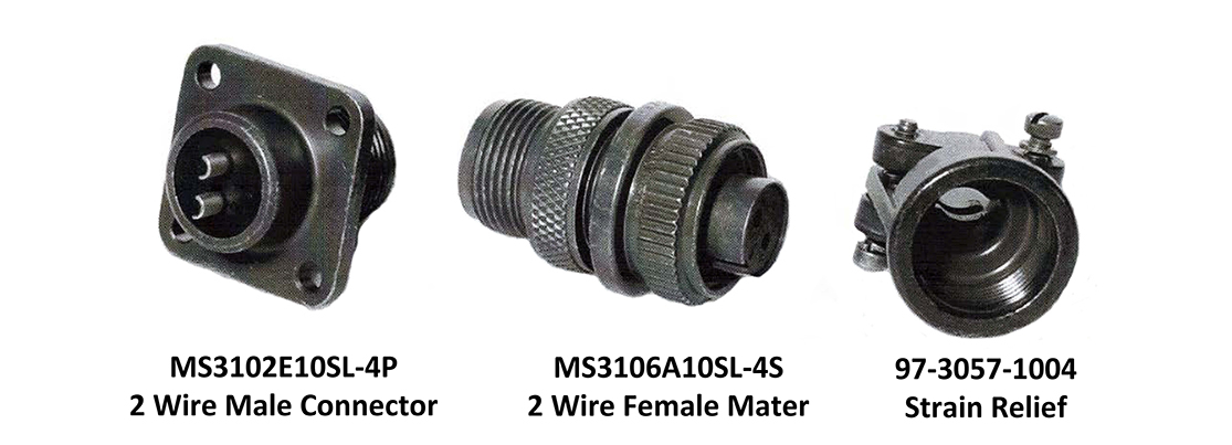 Three military-style power connectors. MS3102E10SL-4P w wire male. MS3106A10SL-4S 2 wire female. 97-3057-1004 Strain Relief