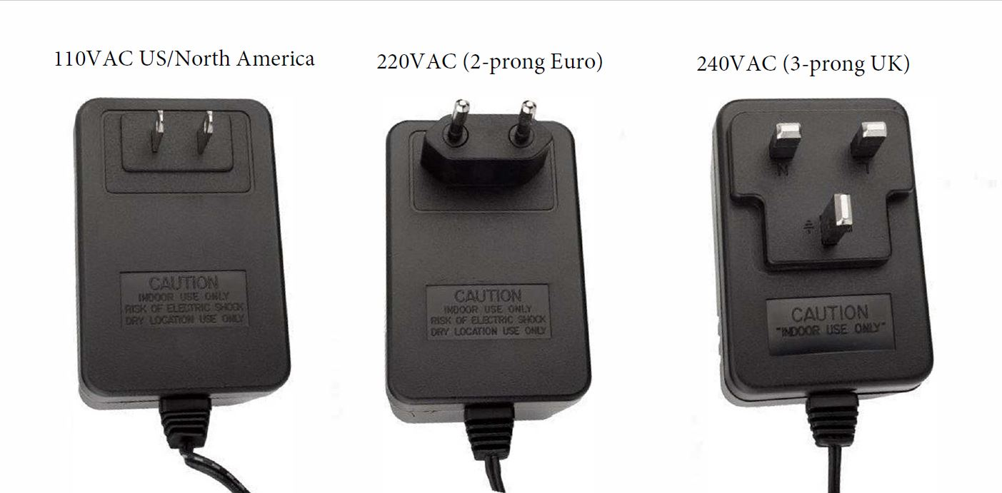 An image of three power supply transformers. Two prong 120 volt US/NA, two prong 220 volt EU, and three prong 240 volt UK